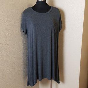 Try This Gray Short Sleeve Asymmetric Top 3X